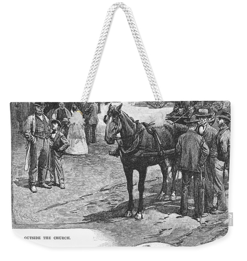 1883 Weekender Tote Bag featuring the photograph Canada: Church, 1883 by Granger
