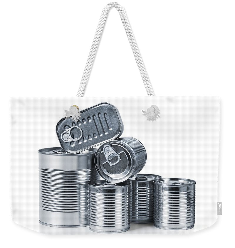 Airtight Weekender Tote Bag featuring the photograph Canned Food by Carlos Caetano