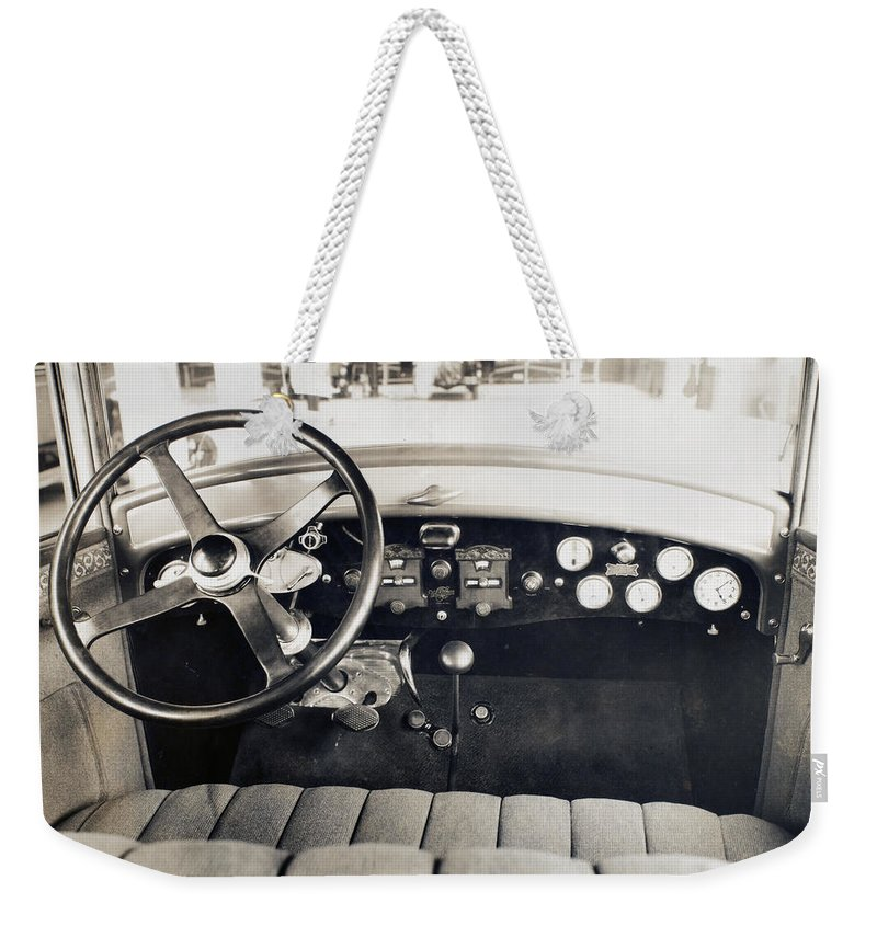 1940 Weekender Tote Bag featuring the photograph Car Radio, C1940 by Granger