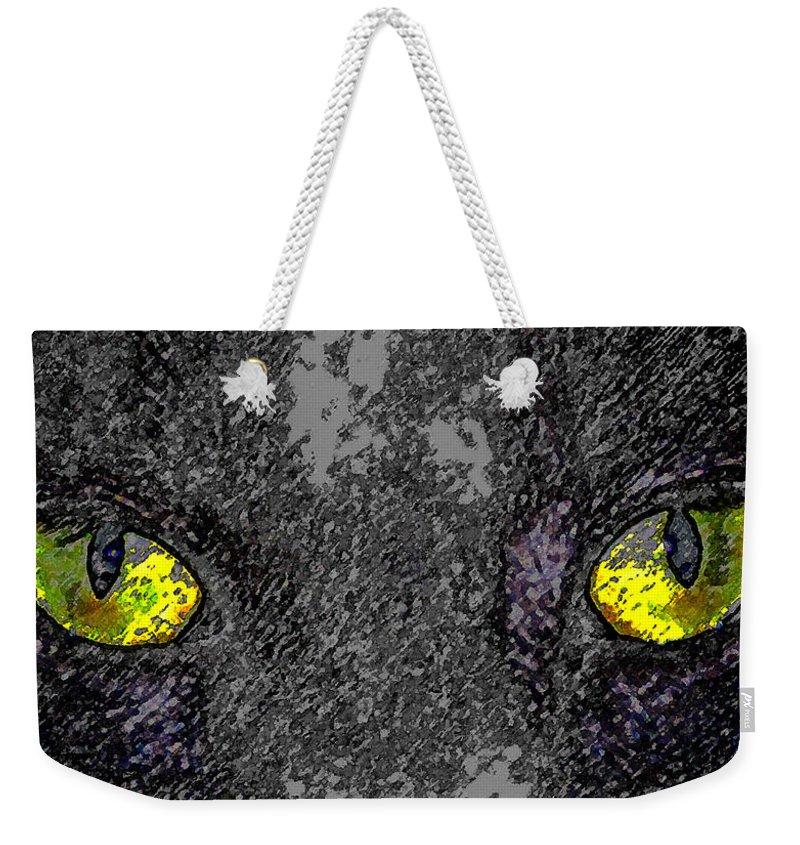 Art Weekender Tote Bag featuring the painting Cat Eyes by David Lee Thompson