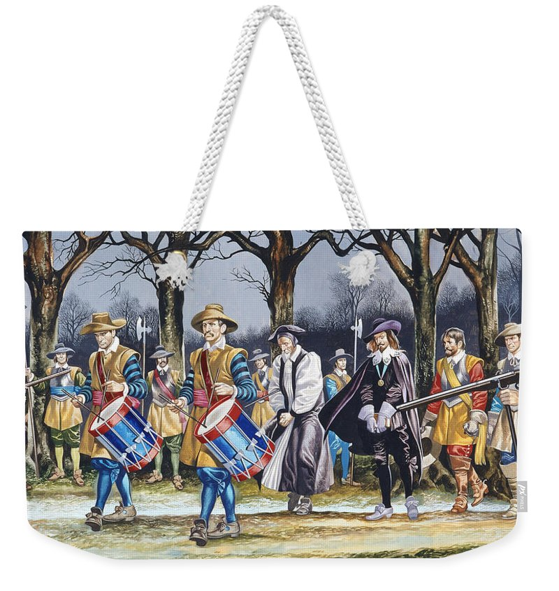 Martyr; Stuart; Monarch; Divine Right; Tree; Drum; Drummer; Musket; Gun; Uniform; Soldier; English Civil War Weekender Tote Bag featuring the painting Charles I's Last Walk by Ron Embleton