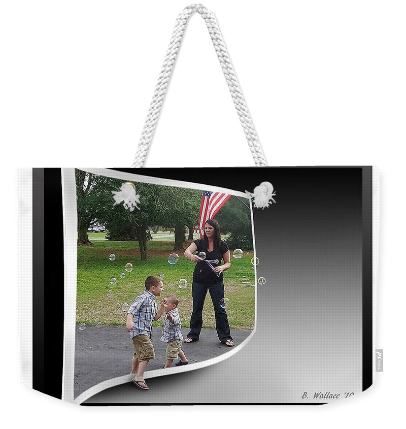 2d Weekender Tote Bag featuring the photograph Chasing Bubbles by Brian Wallace