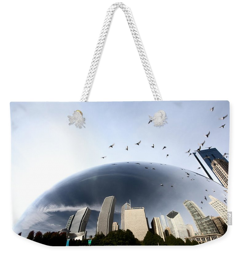 Cityscape Weekender Tote Bag featuring the digital art Chicago Cityscape The Bean by Mark Duffy