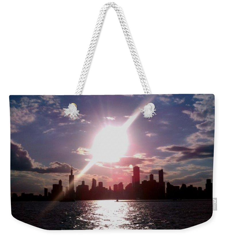Chicago Weekender Tote Bag featuring the photograph Chicago Sunset by Glory Fraulein Wolfe
