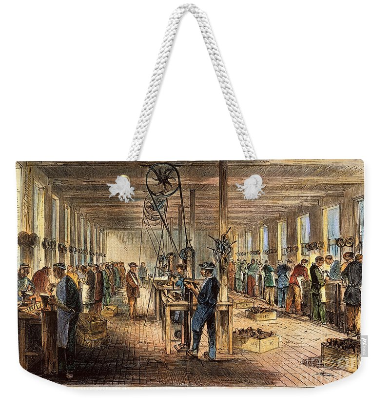 1870 Weekender Tote Bag featuring the photograph Chinese Workers, 1870 by Granger