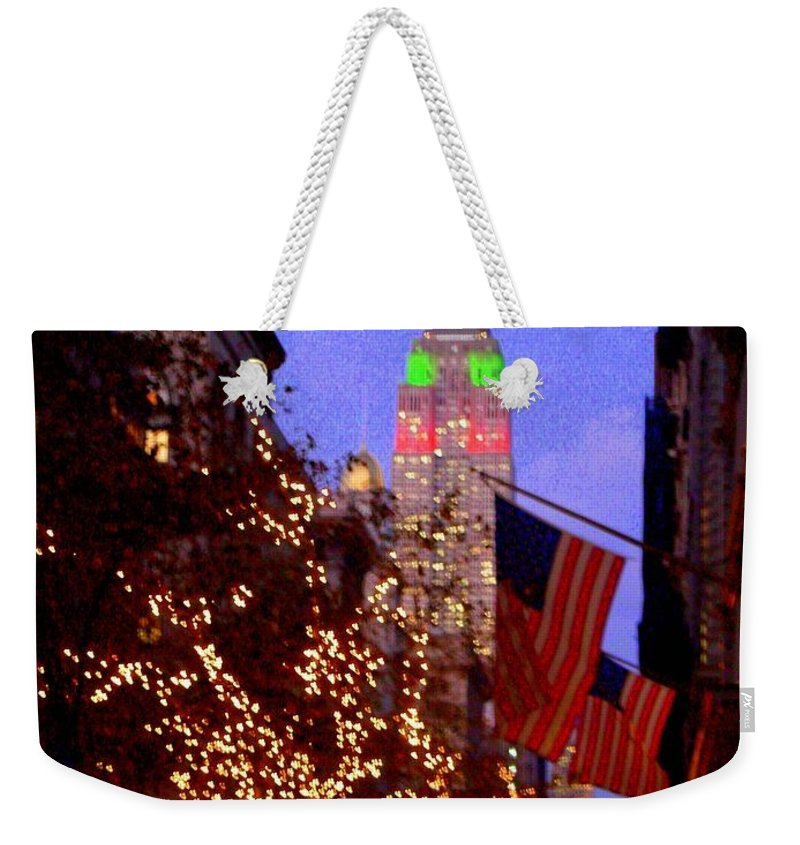 Xmas Weekender Tote Bag featuring the photograph Christmas In New York by Mark Gilman