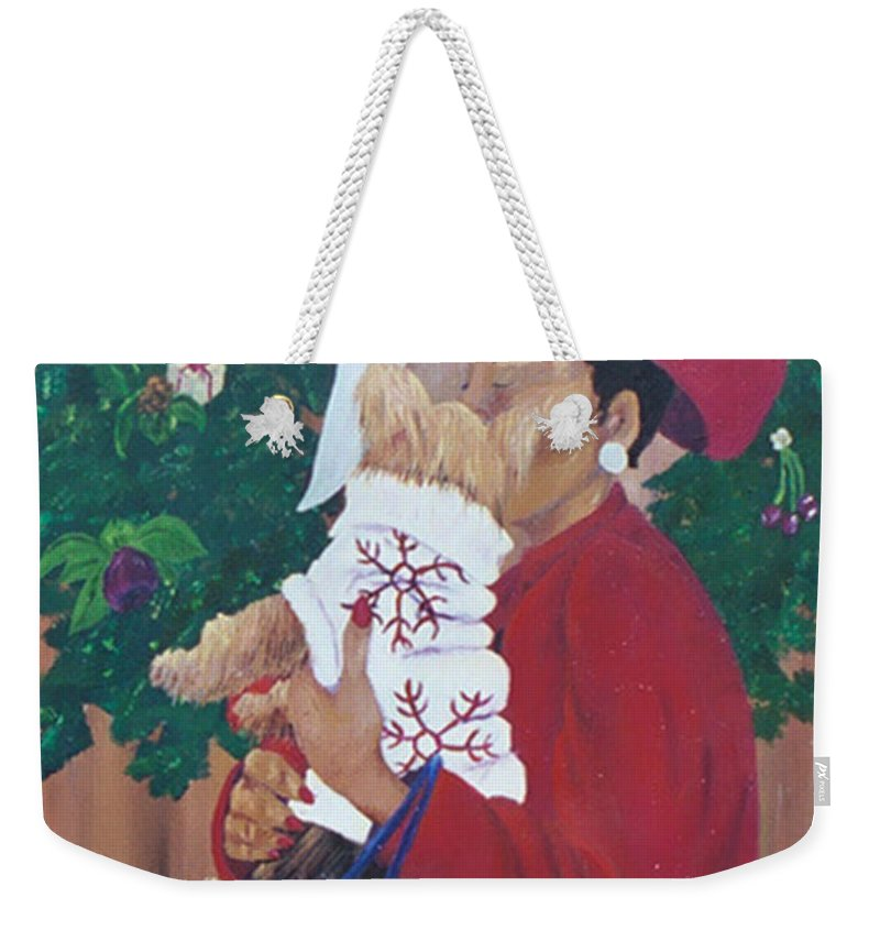 #christmas Prints Weekender Tote Bag featuring the painting Christmas Lioness by Gail Daley