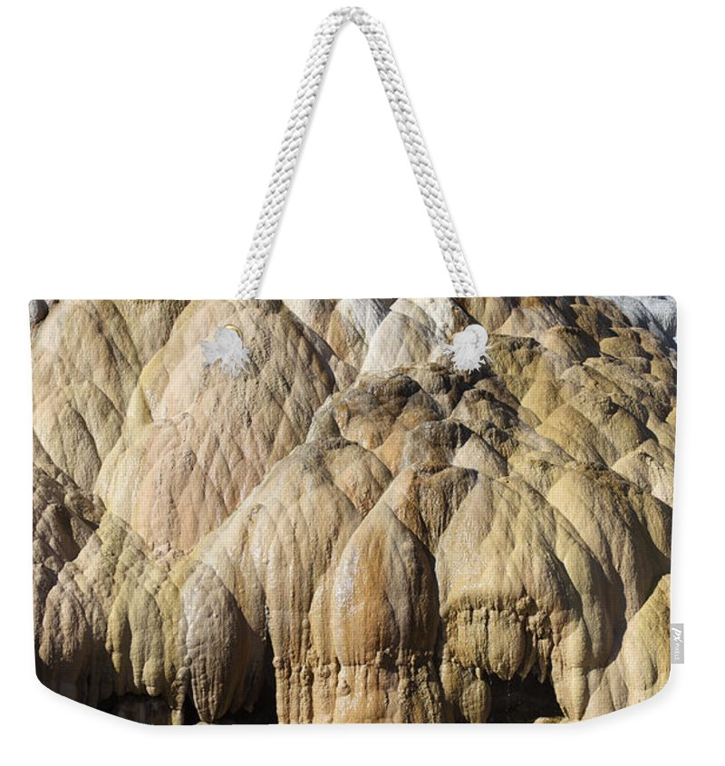 Unesco Weekender Tote Bag featuring the photograph Cleopatra Terrace, Mammoth Hot Springs by Richard Roscoe