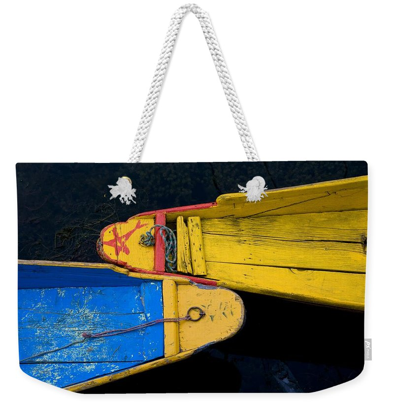 Boat Weekender Tote Bag featuring the photograph Colorful Boats, Srinagar, Dal Lake by David DuChemin