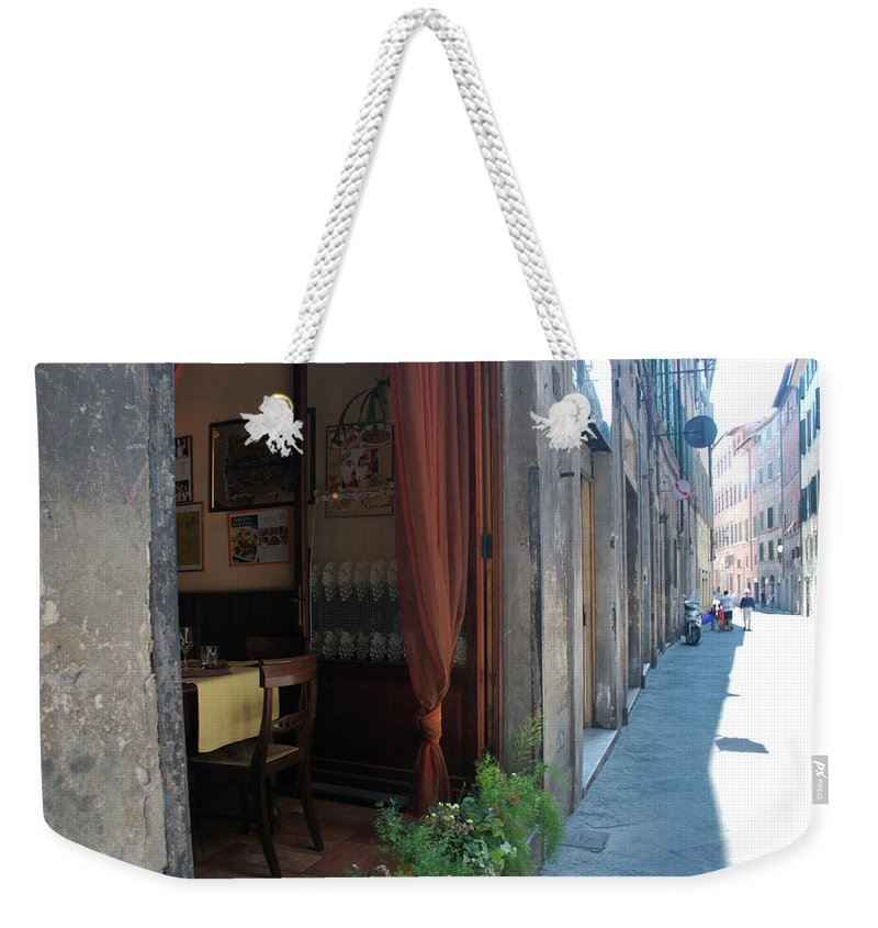 City Weekender Tote Bag featuring the photograph Curtains Billow In The Gentle Tuscan by Heather Perry