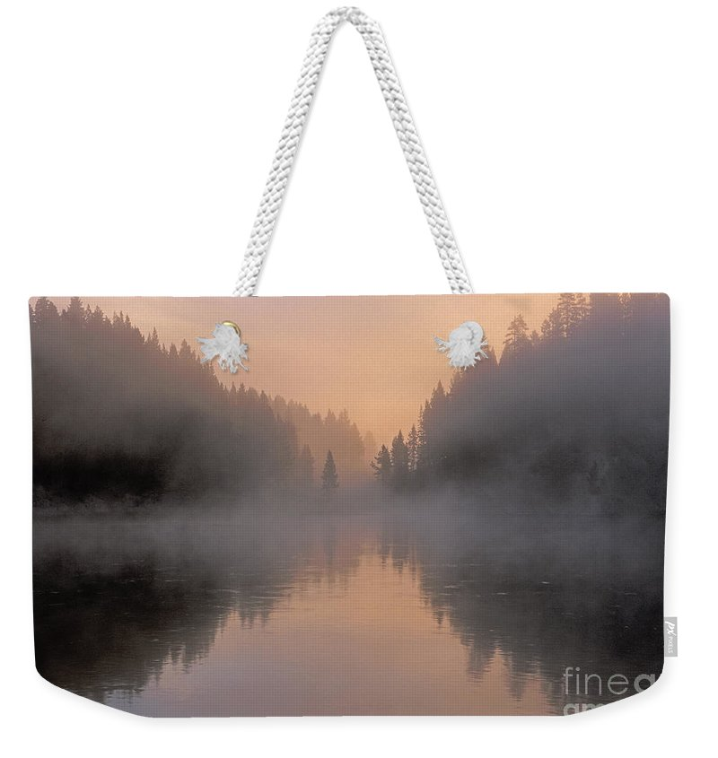 Bronstein Weekender Tote Bag featuring the photograph Dawn On The Yellowstone River by Sandra Bronstein