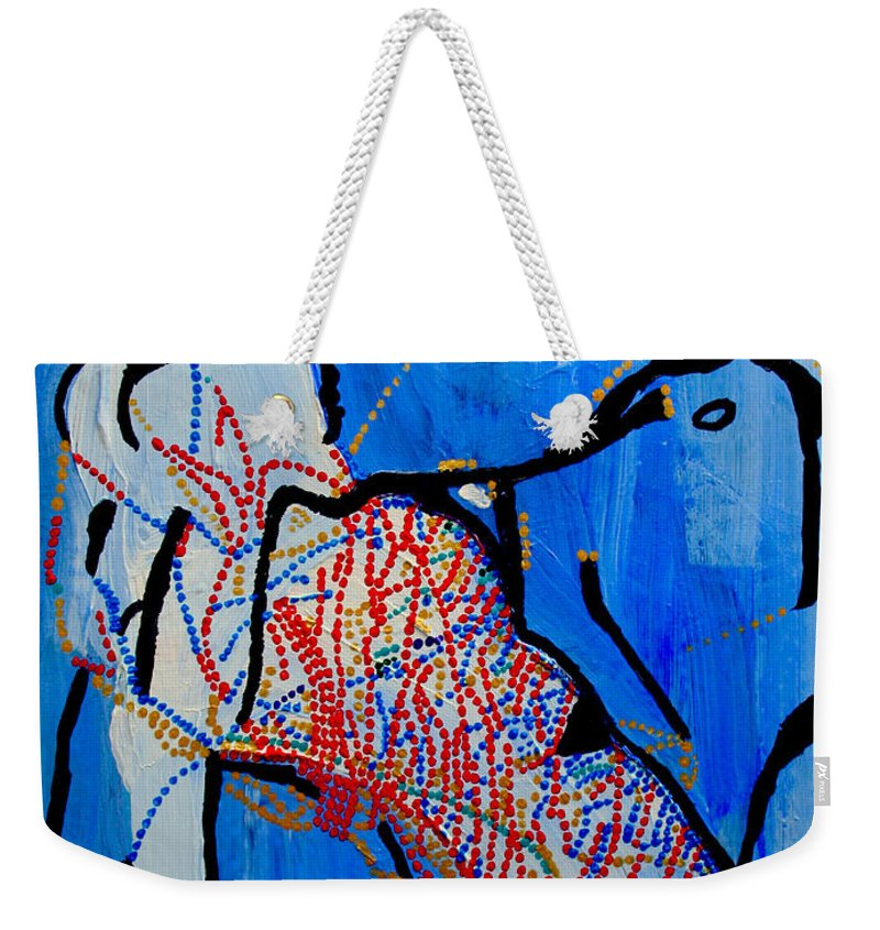 Jesus Weekender Tote Bag featuring the painting Dinka Corset - Manlual - South Sudan by Gloria Ssali