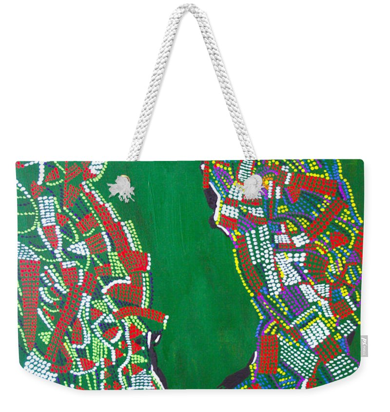 Jesus Weekender Tote Bag featuring the painting Dinka Marriage by Gloria Ssali
