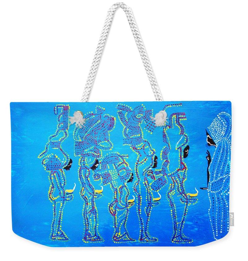 Jesus Weekender Tote Bag featuring the painting Dinka Wise Virgins by Gloria Ssali