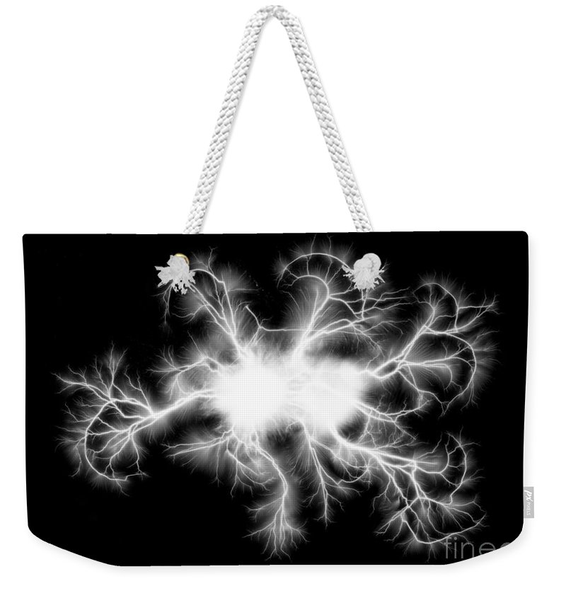 Spark Weekender Tote Bag featuring the photograph Electric Spark by Ted Kinsman