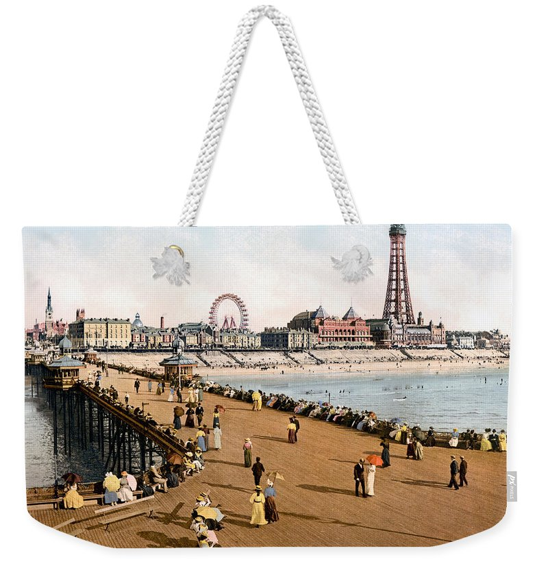 1900 Weekender Tote Bag featuring the photograph England: Blackpool, C1900 by Granger
