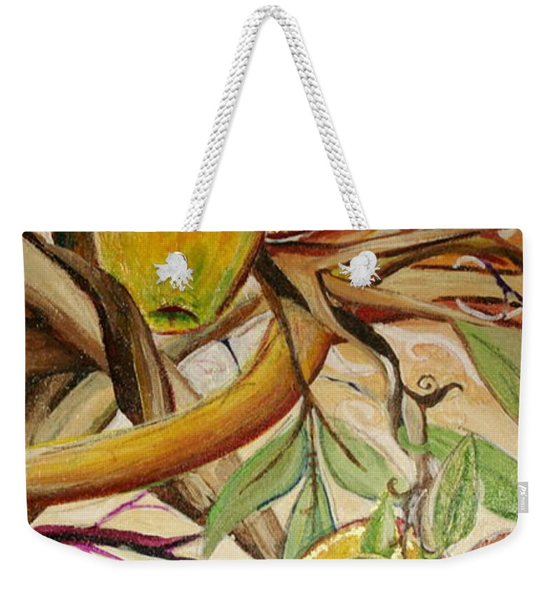 Apple Weekender Tote Bag featuring the painting Fifth World Two by Kate Fortin