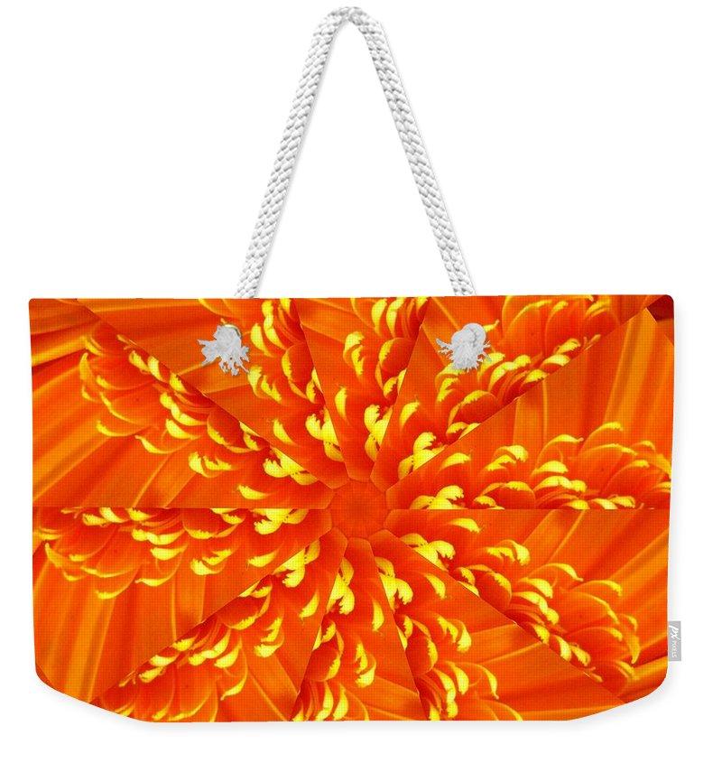 Flower Weekender Tote Bag featuring the digital art Floral Sunrise by Rhonda Barrett
