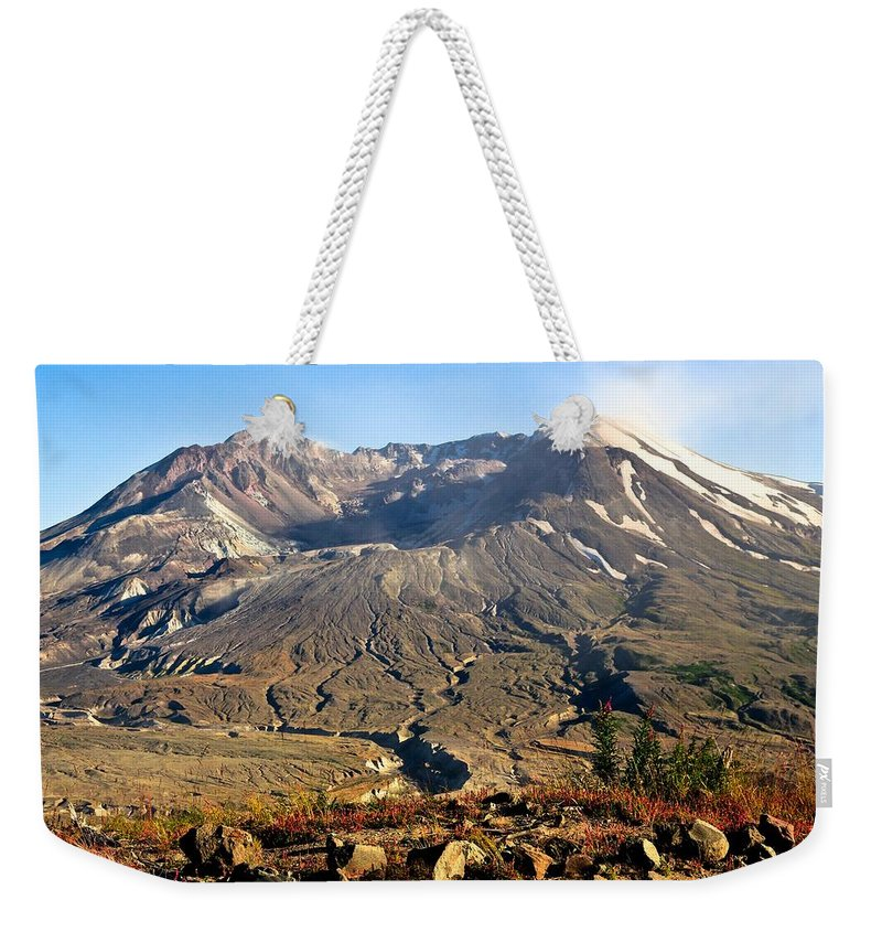 Mount St. Helens Weekender Tote Bag featuring the photograph Flowers On Mount St. Helens by Athena Mckinzie