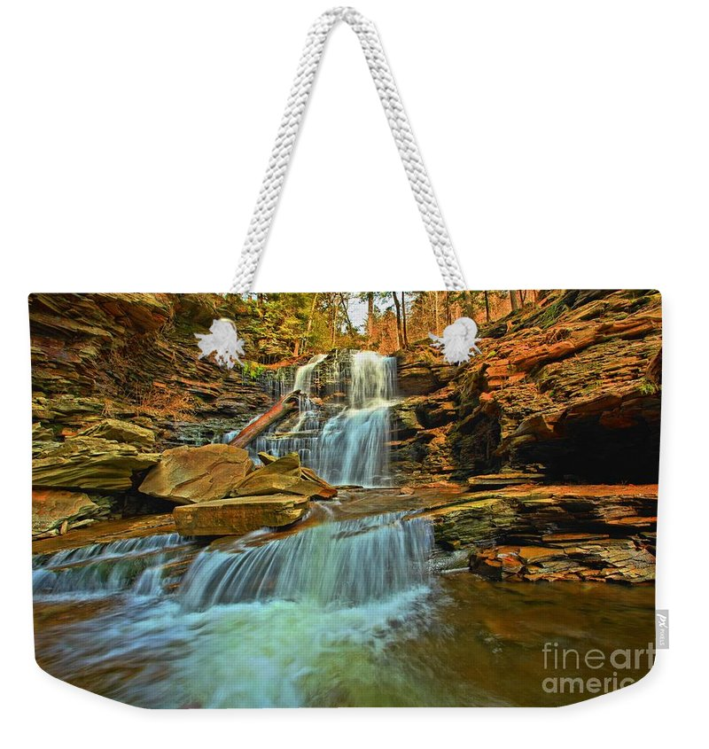 Ricketts Glen Weekender Tote Bag featuring the photograph Flowing Down The Mountain by Adam Jewell