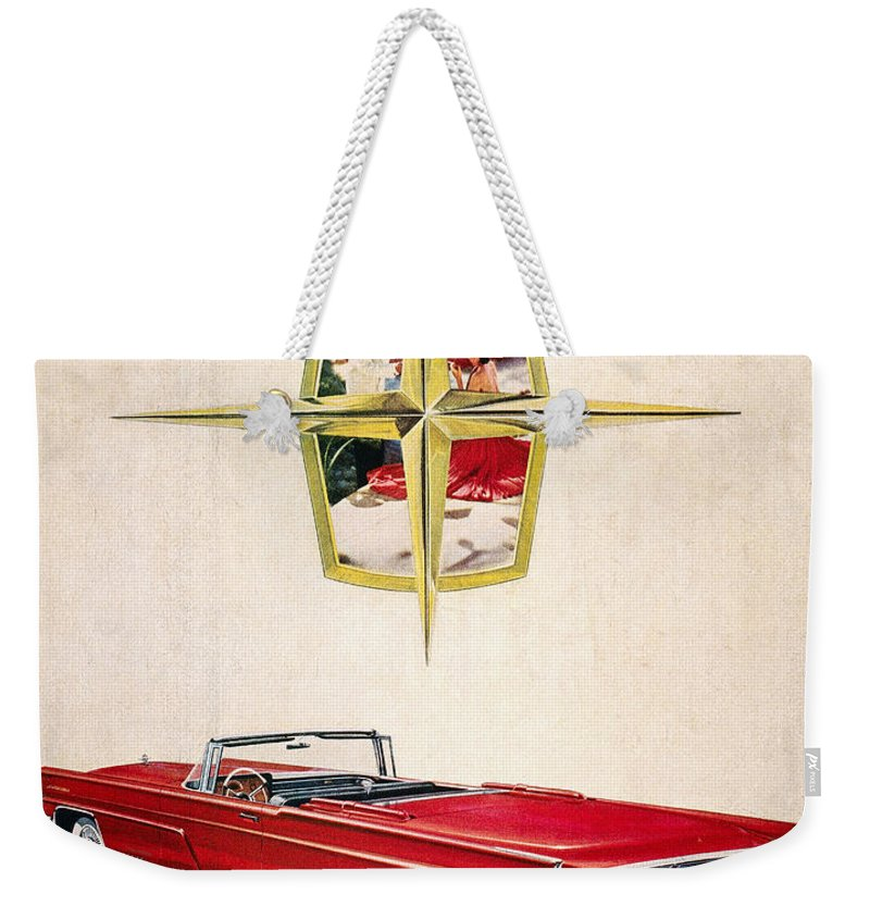 1959 Weekender Tote Bag featuring the photograph Ford Avertisement, 1959 by Granger
