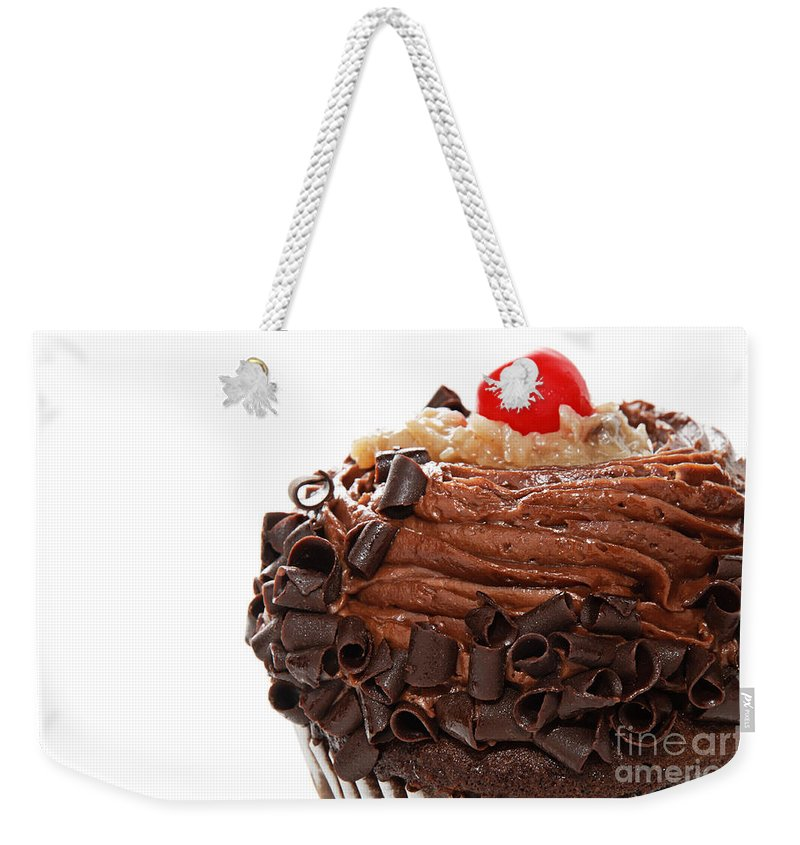 Andee Design German Chocolate Weekender Tote Bag featuring the photograph German Chocolate Cupcake 2 by Andee Design