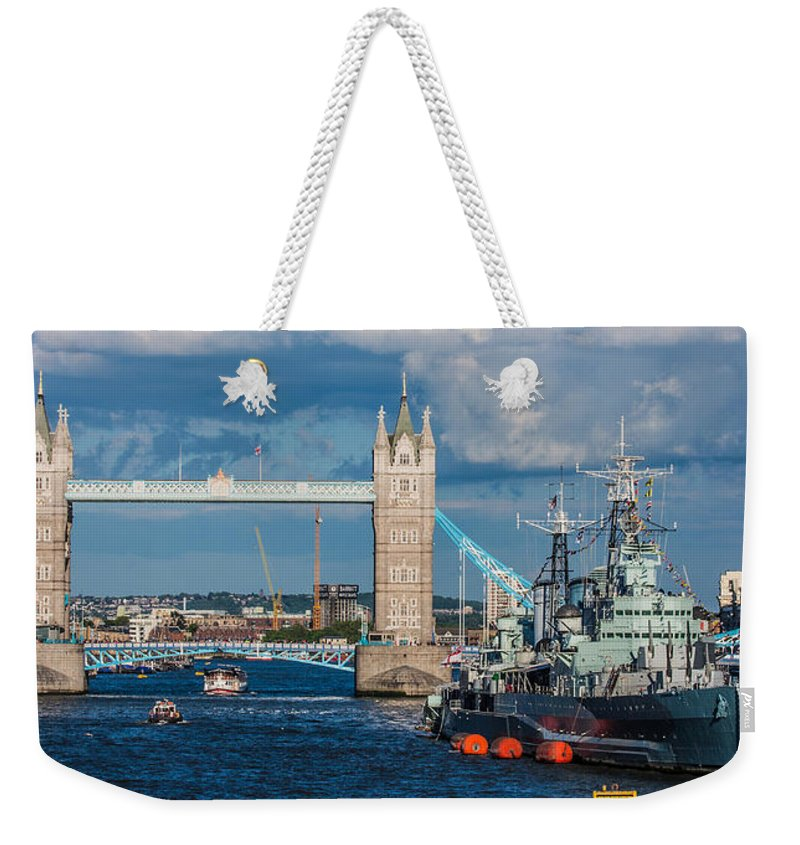 Dawn Oconnor Dawnoconnorphotos@gmail.com Weekender Tote Bag featuring the photograph Hms Belfast And Tower Bridge by Dawn OConnor