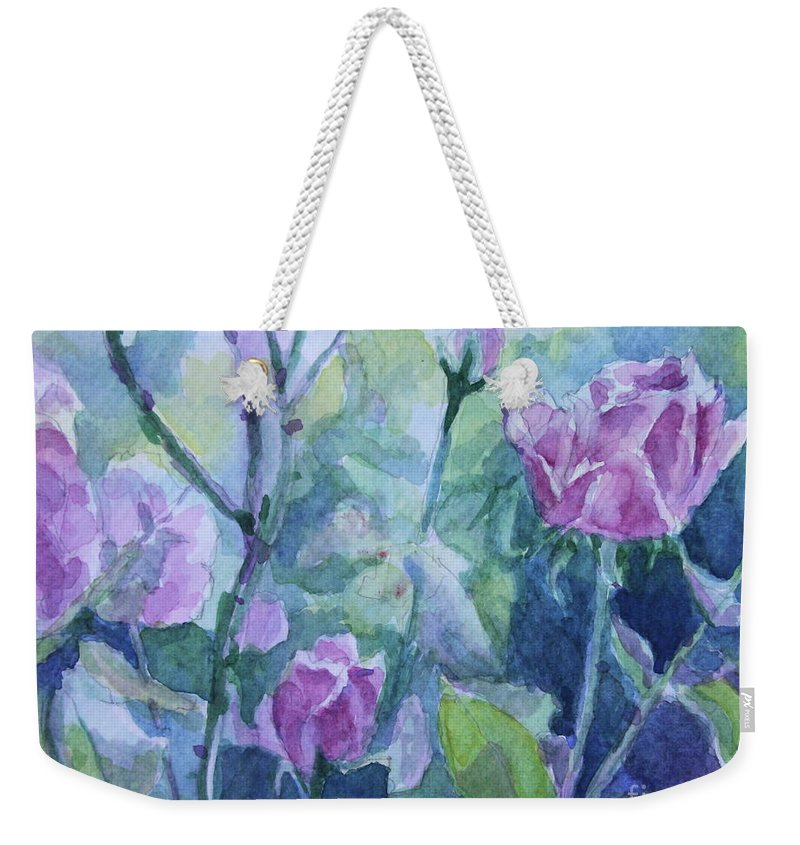 Flowers Weekender Tote Bag featuring the painting How Did The Rose by Jan Bennicoff