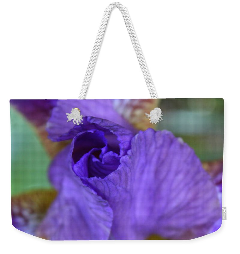 Iris Weekender Tote Bag featuring the photograph Iris Square by Carol Groenen