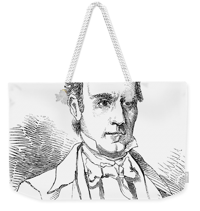 19th Century Weekender Tote Bag featuring the photograph James K. Polk (1795-1849) by Granger