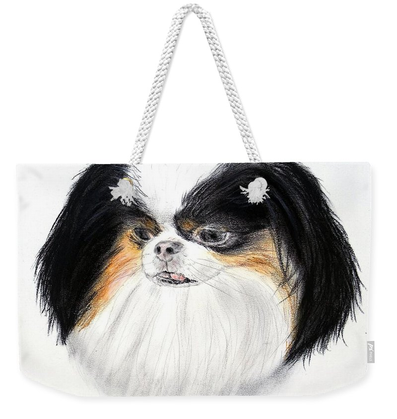 Japanese Chin Weekender Tote Bag featuring the drawing Japanese Chin Dog Portrait by Jim Fitzpatrick