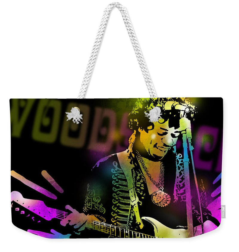 Blues Weekender Tote Bag featuring the painting Jimi Hendrix by Paul Sachtleben