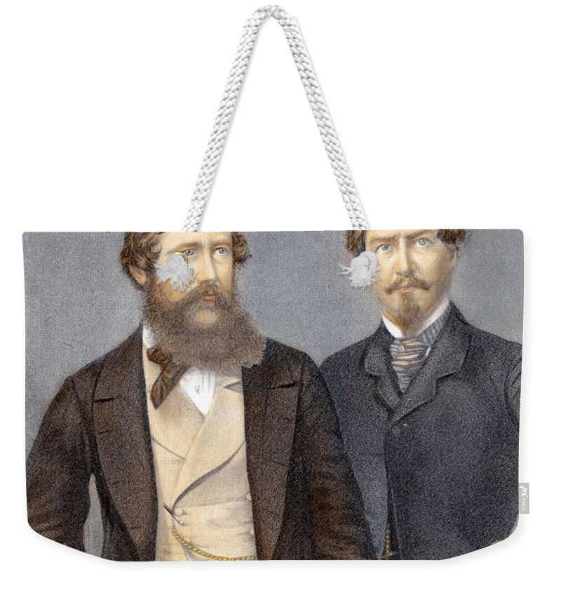 19th Century Weekender Tote Bag featuring the photograph John Speke & James Grant by Granger