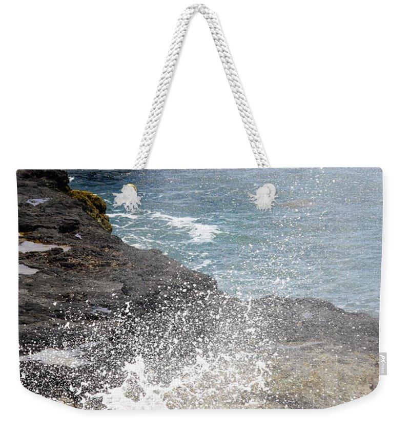 Kilauea Point Lighthouse Weekender Tote Bag featuring the photograph Kauai Spray by Linda Dunn