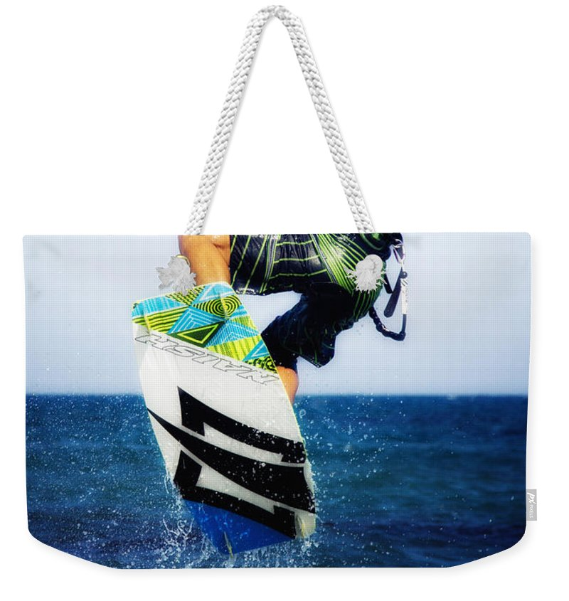 Beach Weekender Tote Bag featuring the photograph Kitesurfer by Stelios Kleanthous