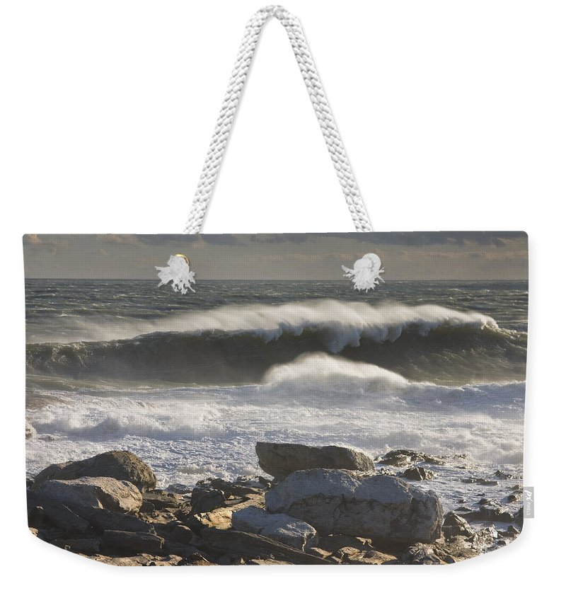 Maine Weekender Tote Bag featuring the photograph Large Waves Near Pemaquid Point On The Coast Of Maine by Keith Webber Jr