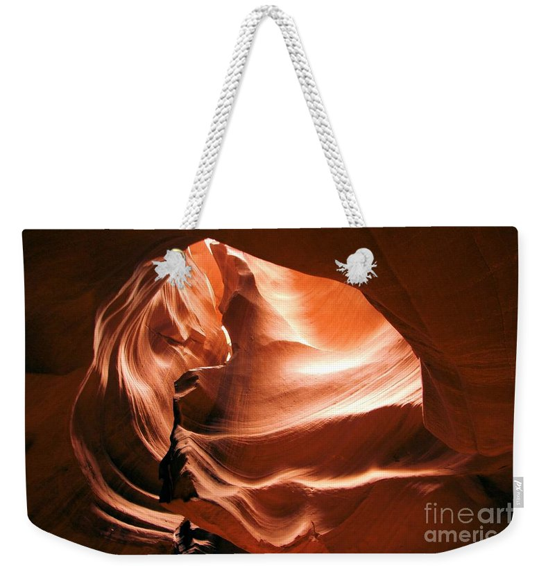 Antelope Canyon Weekender Tote Bag featuring the photograph Light From Above by Adam Jewell
