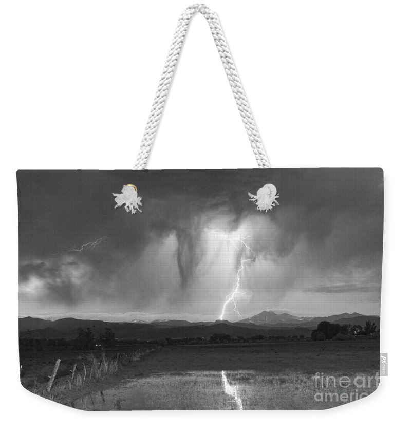 'boulder County' Weekender Tote Bag featuring the photograph Lightning Striking Longs Peak Foothills 3 by James BO Insogna