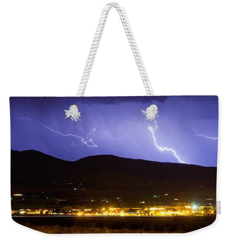 decorative Canvas Prints Weekender Tote Bag featuring the photograph Lightning Striking Over Ibm Boulder Co 2 by James BO Insogna
