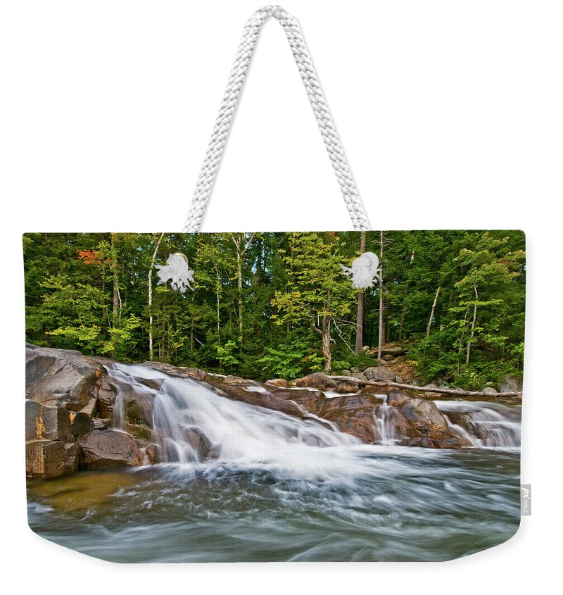 white Mountain Farmland Weekender Tote Bag featuring the photograph Lower Falls by Paul Mangold