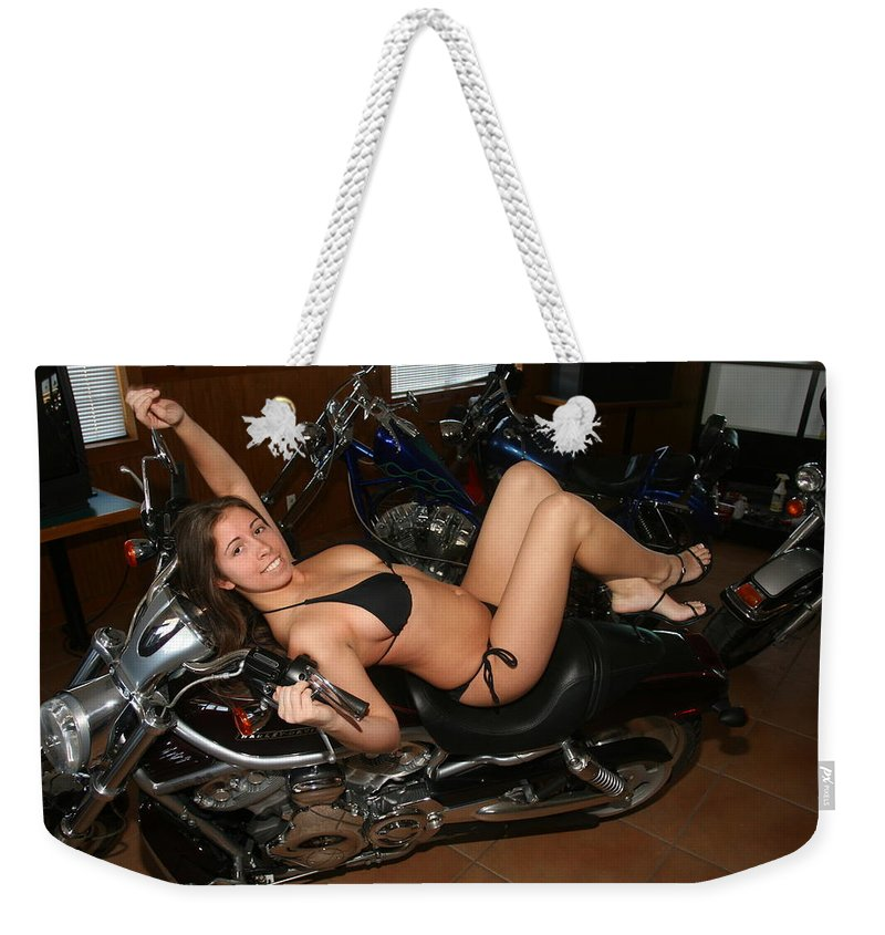 Everglades City Fl Professional Photographer Lucky Cole Weekender Tote Bag featuring the photograph Biker by Lucky Cole