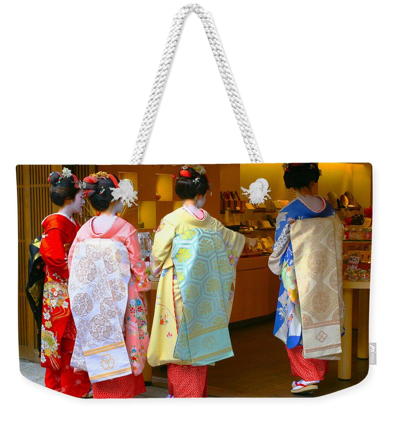 Maiko Weekender Tote Bag featuring the photograph Maiko by Priscilla De Mesa