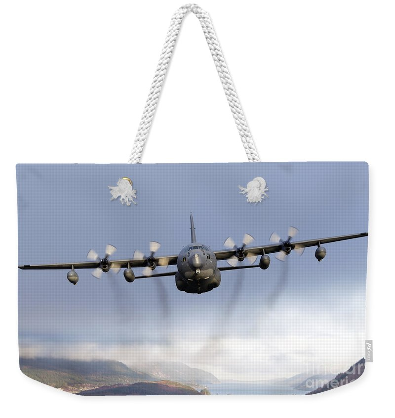 Mc-130 Weekender Tote Bag featuring the photograph Mc-130p Combat Shadow Over Scotland by Gert Kromhout