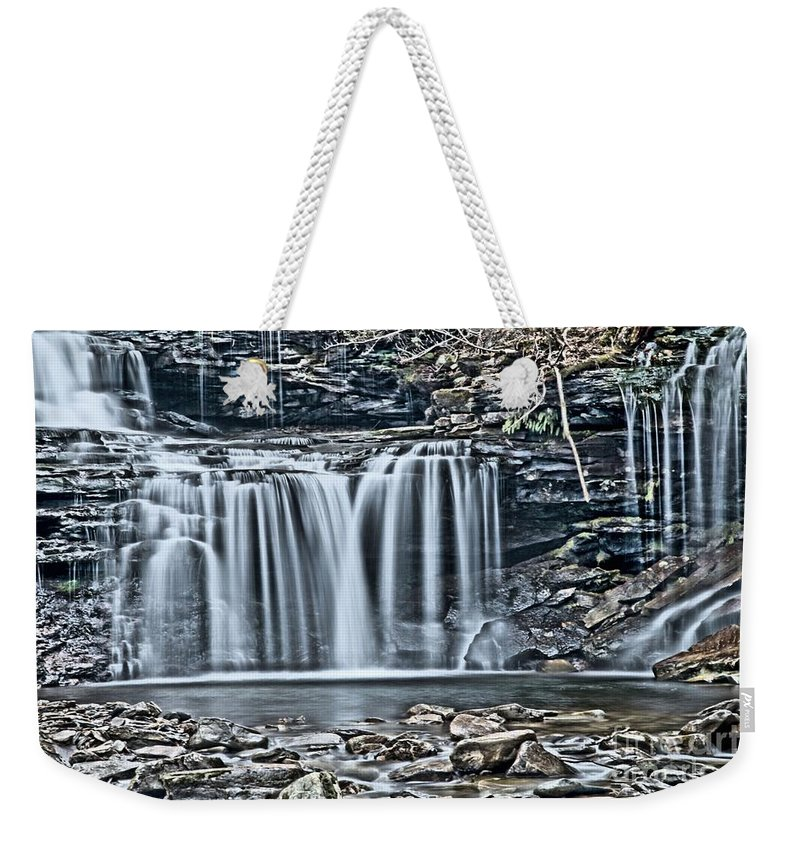 Waterfalls Weekender Tote Bag featuring the photograph Metallic Falls by Adam Jewell