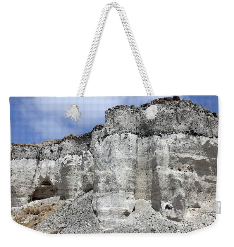 Day Weekender Tote Bag featuring the photograph Minoan Eruption Deposits, Mavromatis by Richard Roscoe