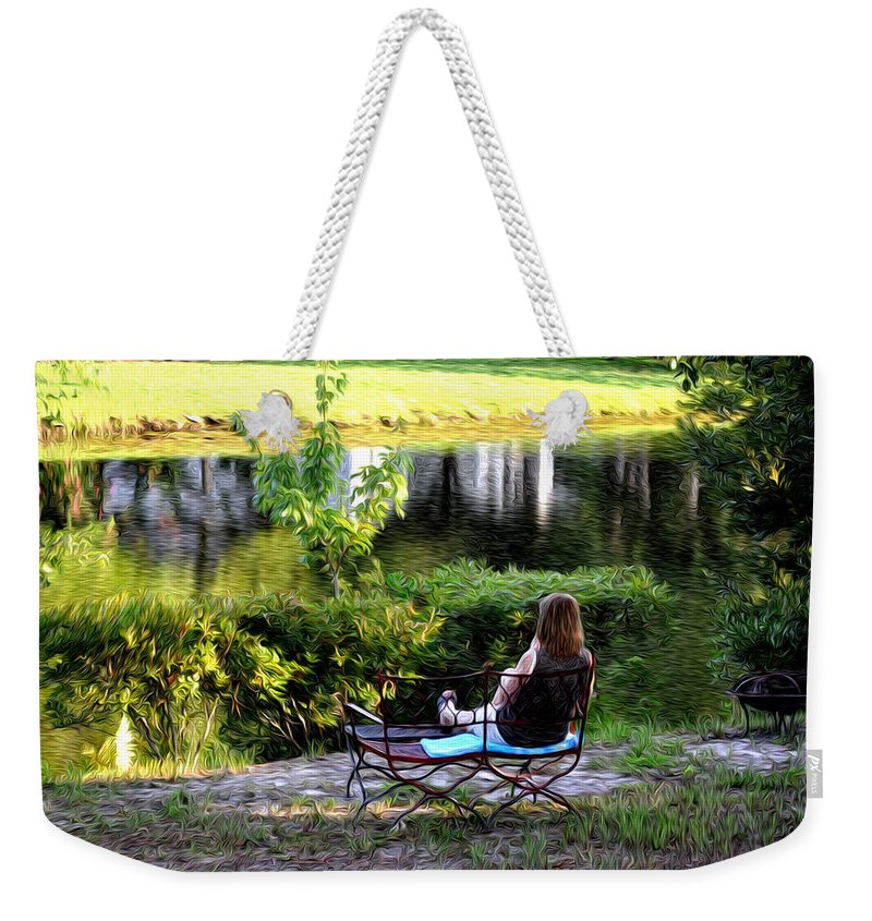 Morning By The Pond Weekender Tote Bag featuring the photograph Morning By The Pond by Bill Cannon