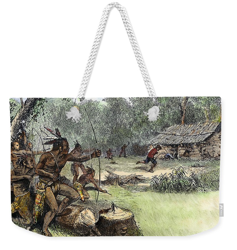 1640 Weekender Tote Bag featuring the photograph Native American Attack, C1640 by Granger