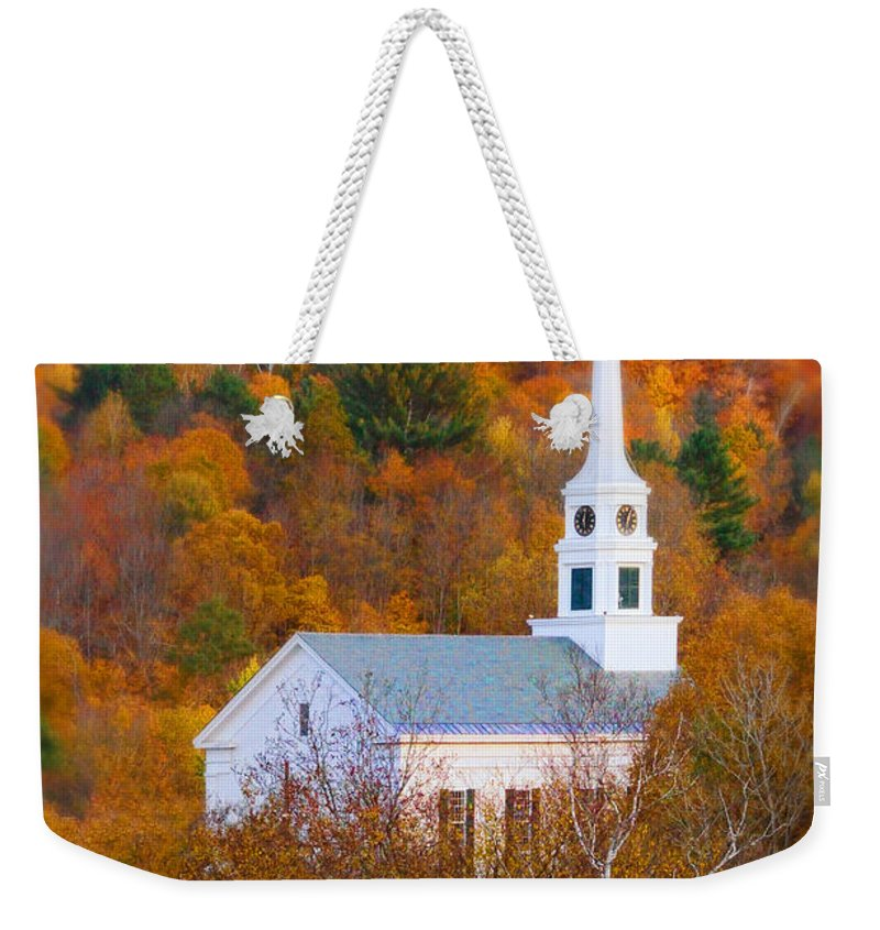 Church Weekender Tote Bag featuring the photograph New England Church In Autumn by Jill Battaglia