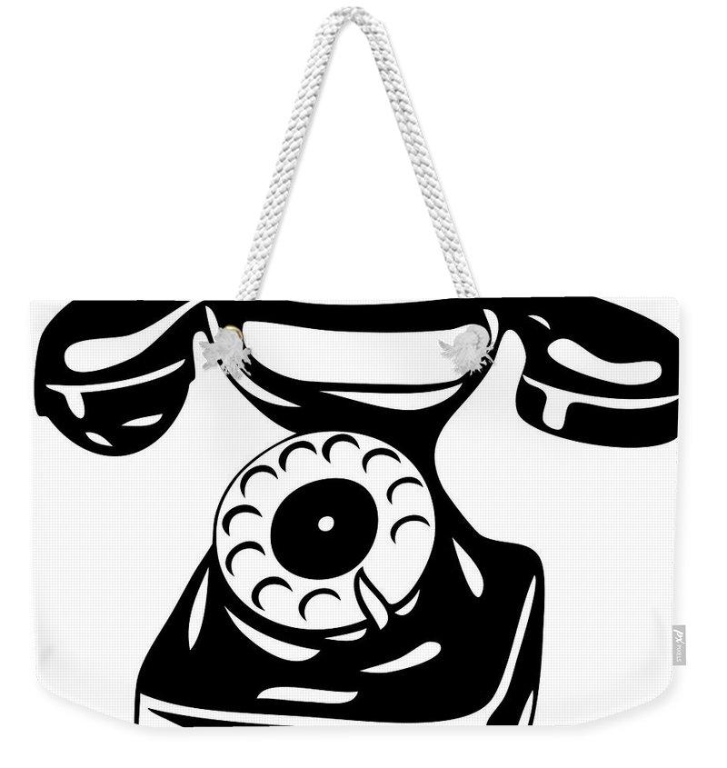 Phone Weekender Tote Bag featuring the digital art Old Analogue Phone by Michal Boubin