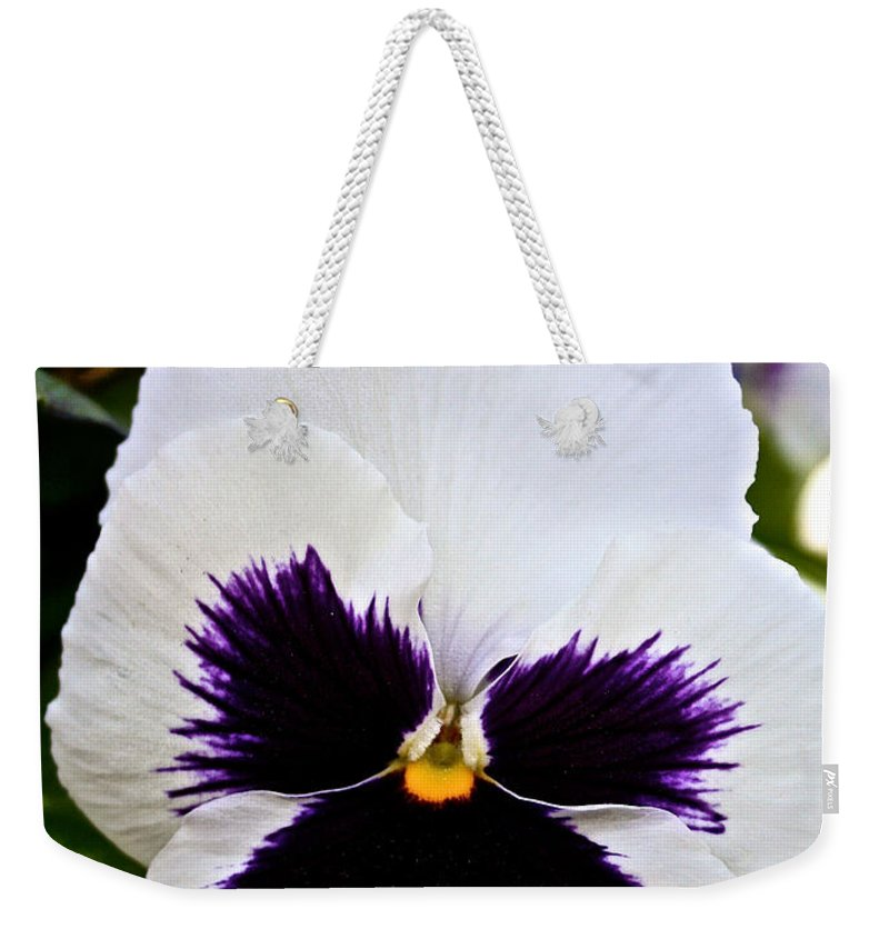 Outdoors Weekender Tote Bag featuring the photograph Pansy Face by Susan Herber